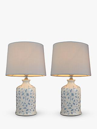 John Lewis & Partners Arley Ceramic Table Lamps, Blue/Grey, Set of 2