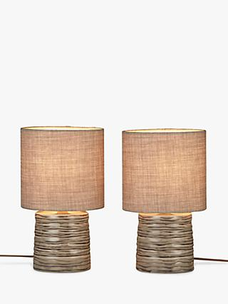 John Lewis & Partners Freeman Table Lamps, Grey, Set of 2