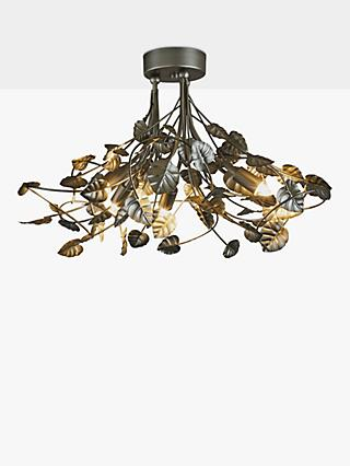 John Lewis Partners Juliette Leaf Semi Flush Ceiling Light Satin Nickel