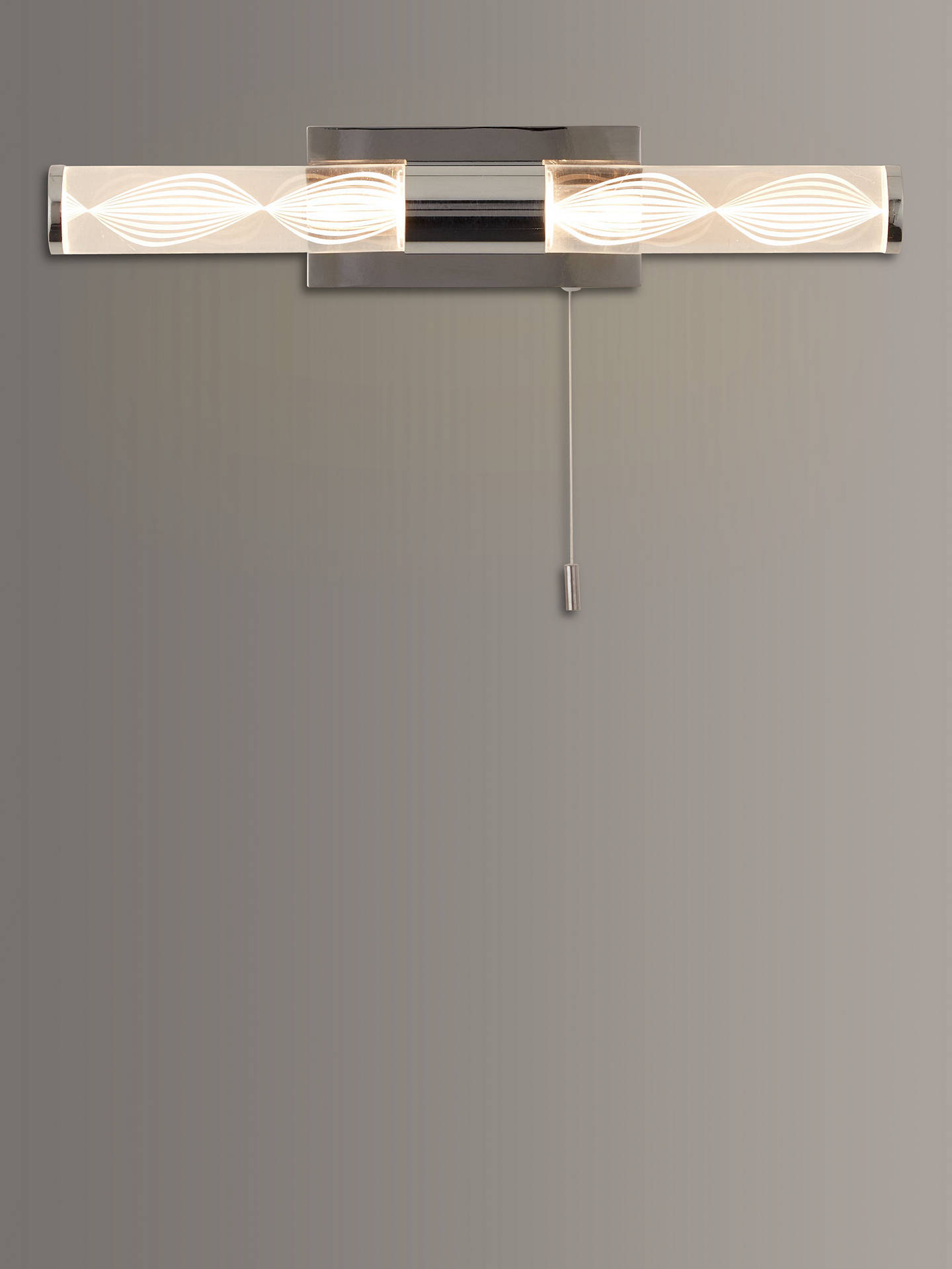 John Lewis & Partners Oslo LED Over Mirror Bathroom Wall Light, Chrome