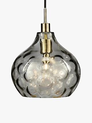 John Lewis & Partners Vivienne Smoked Glass Ceiling Light, Brass