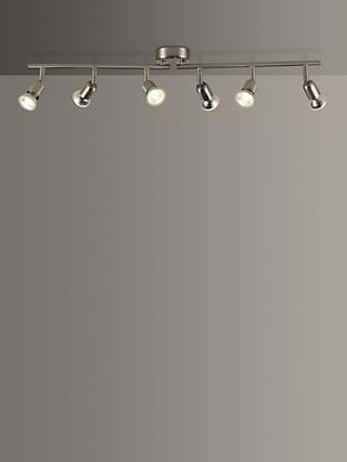 House by John Lewis Keely 6 Spotlight Ceiling Bar, Brushed Steel