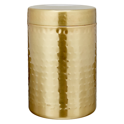 John Lewis & Partners Hammered Stainless Steel Canister, Gold, Medium