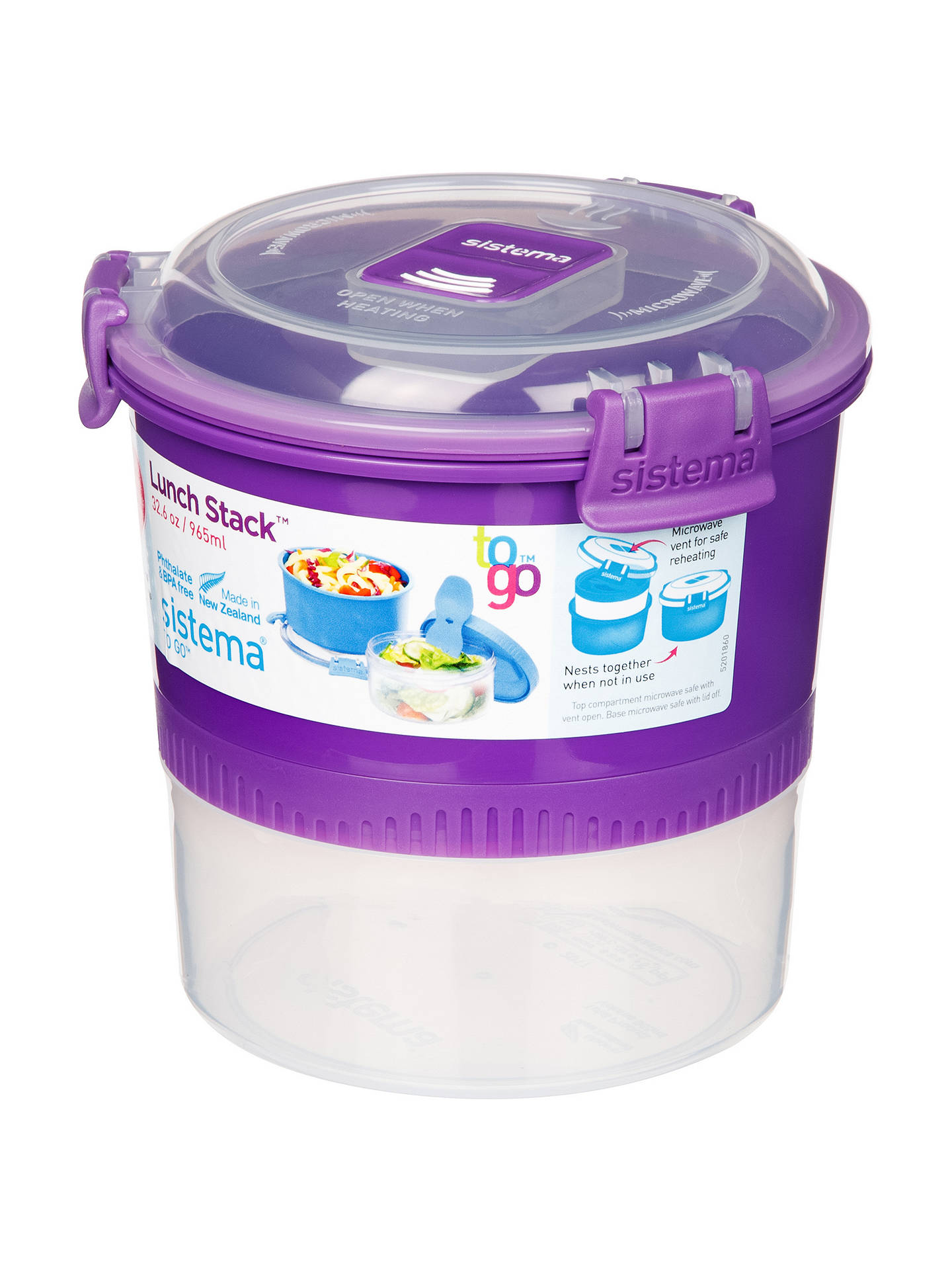 Sistema To Go Polypropylene Lunch Stack, 965ml, Assorted