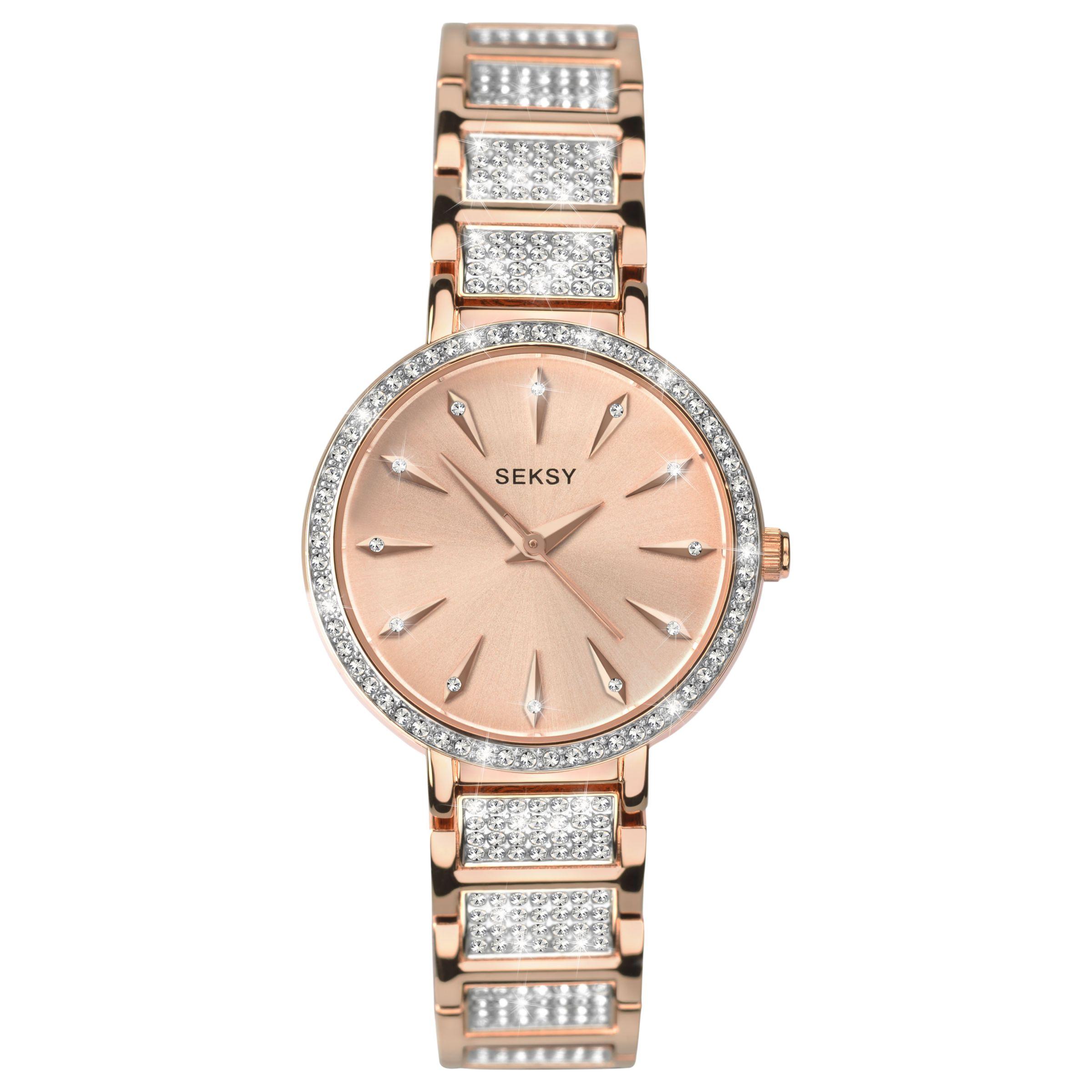 Sekonda Sekonda 2372.37 Women's Seksy Swarovski Crystal Bracelet Strap Watch, Rose Gold
