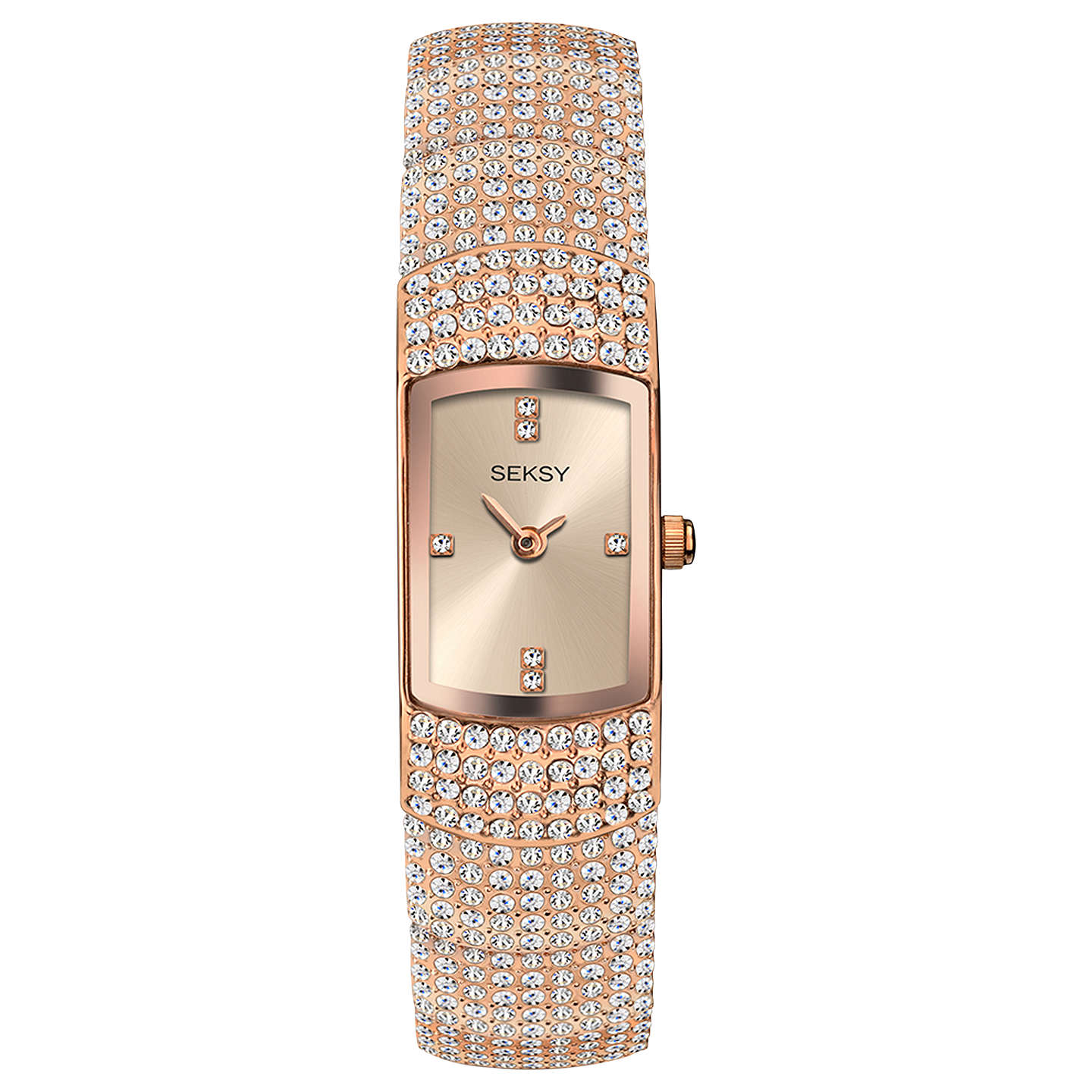 set and crystal amazon tone swarovski watch klein anne ak com bangle dp gold accented watches bracelet s women