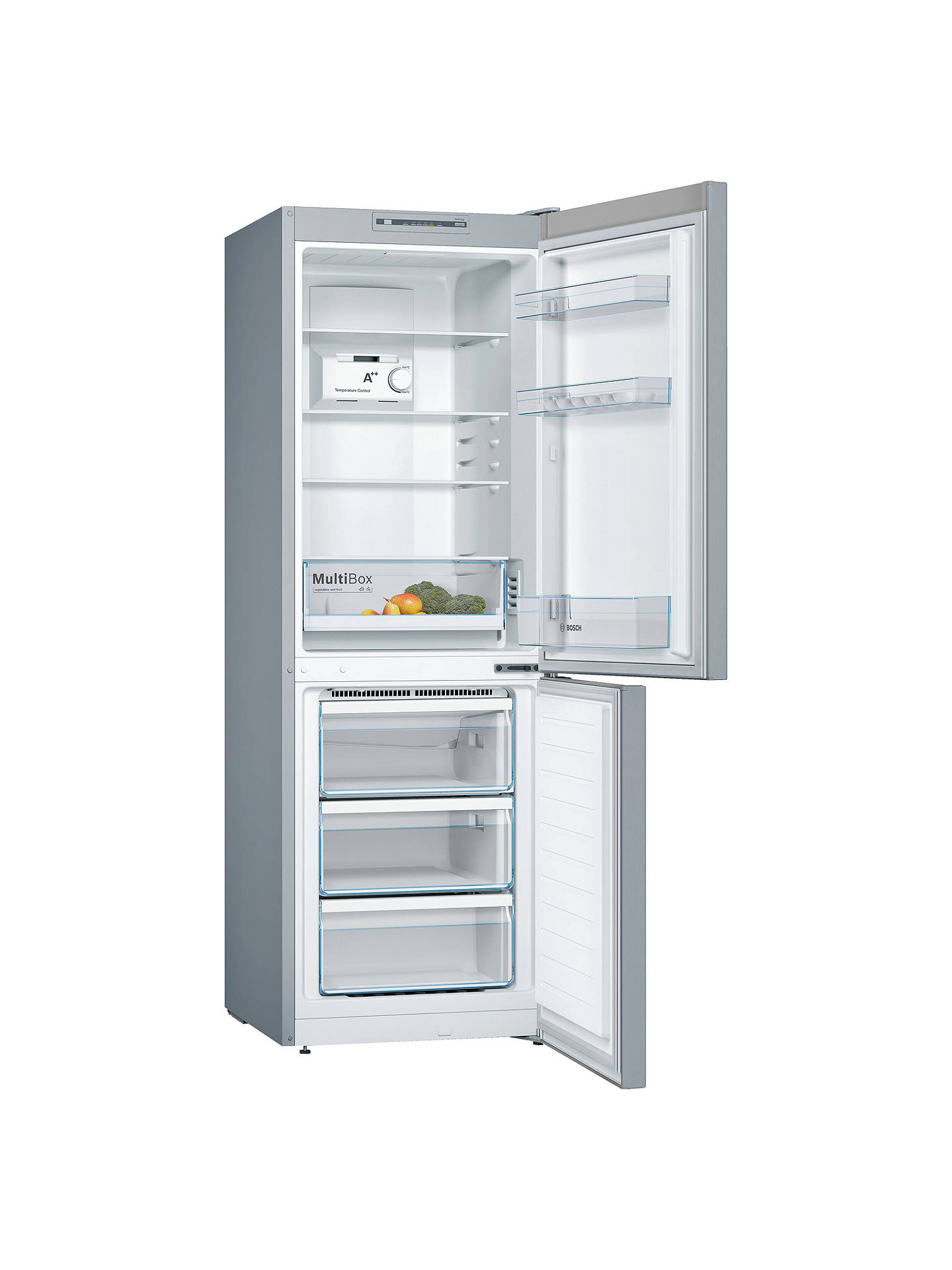 BuyBosch KGN33NL3AG Fridge Freezer, A++ Energy Rating, 60cm Wide, Stainless Steel Look Online at johnlewis.com