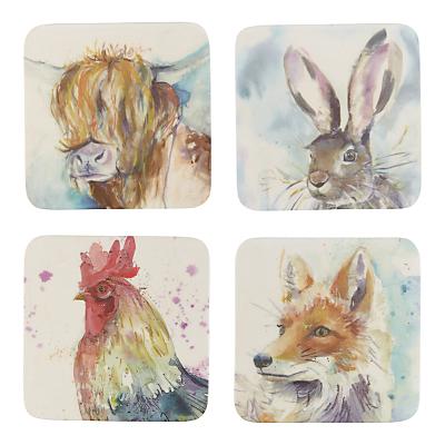 Voyage Mixed Animals Coasters, Set of 4, Multi