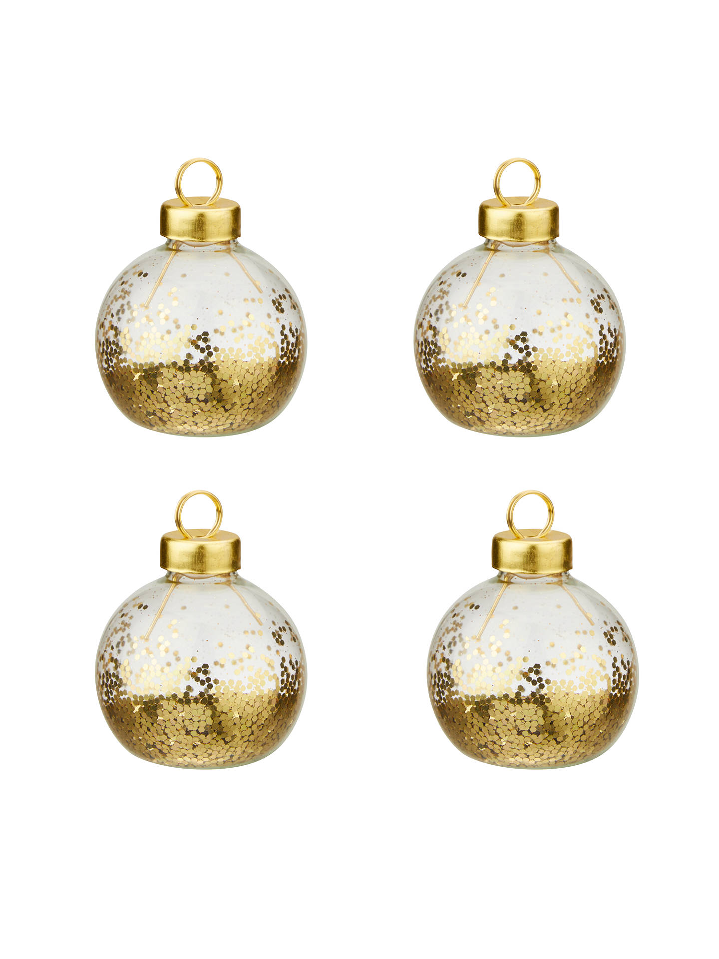 BuyJohn Lewis & Partners Glitter Bauble Placecard Holders, Set of 4, Gold Online at johnlewis.com