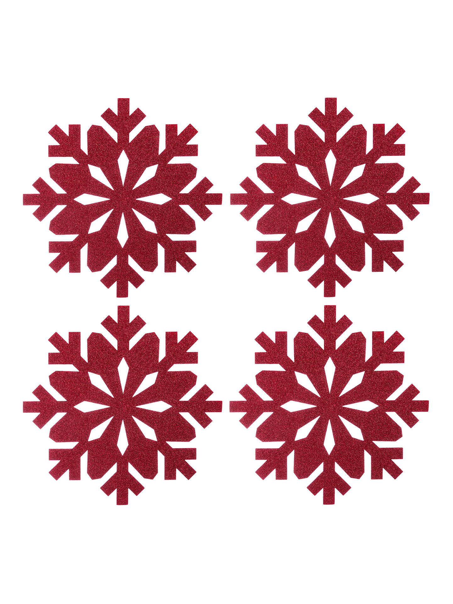 Buy John Lewis & Partners Felt Christmas Snowflake Placemats, Red, Set of 4 Online at johnlewis.com