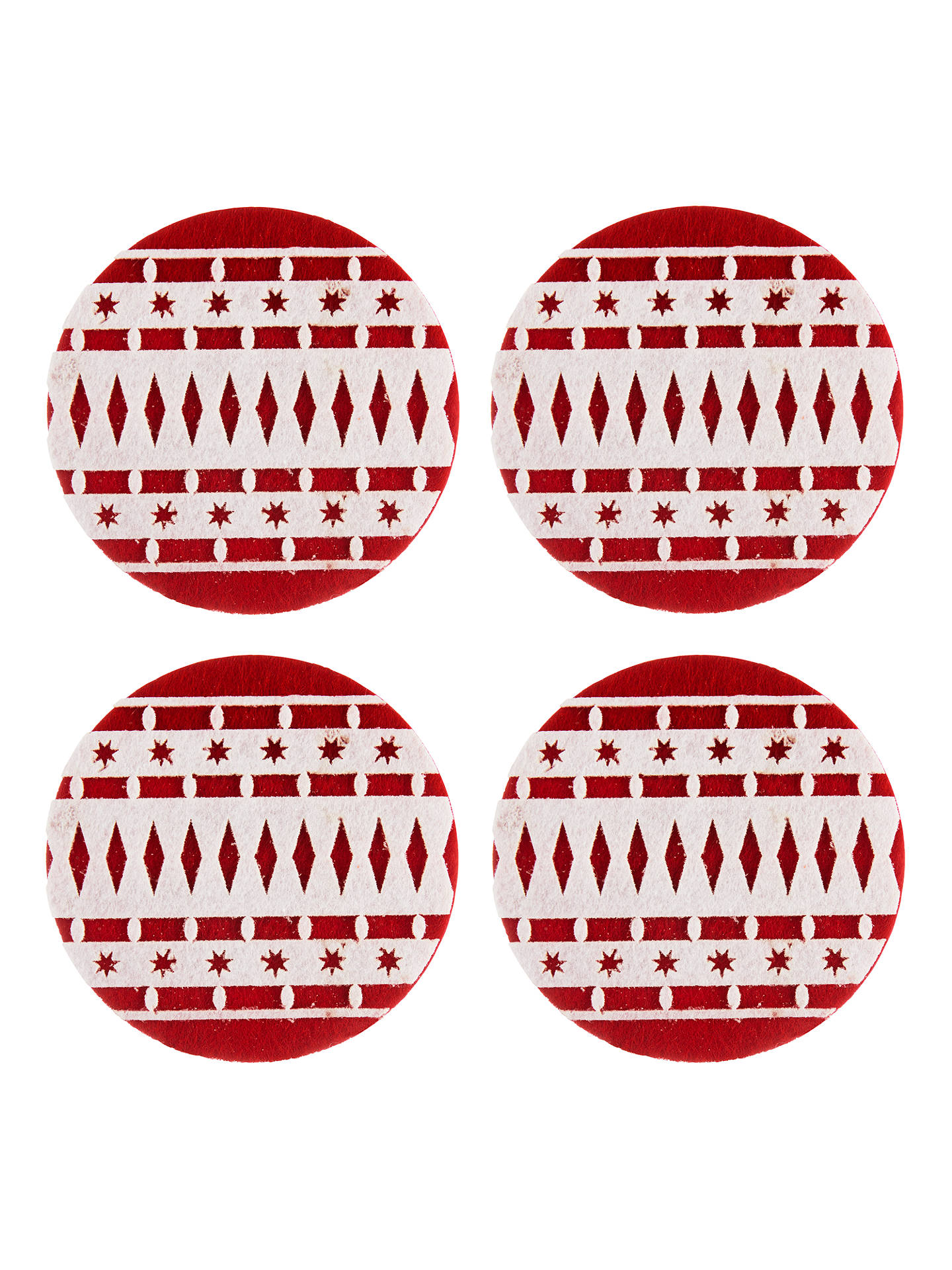 BuyJohn Lewis & Partners Felt Christmas Bauble Coasters, Red/White, Set of 4 Online at johnlewis.com