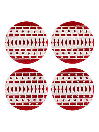 Buy John Lewis & Partners Felt Christmas Bauble Coasters, Red/White, Set of 4 Online at johnlewis.com