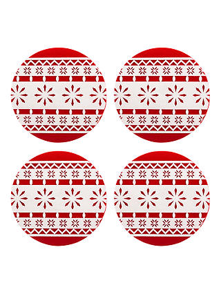 Buy John Lewis & Partners Felt Christmas Bauble Placemats, Red/White, Set of 4 Online at johnlewis.com