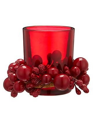 John Lewis & Partners Ruby Berries Votive Candle Holder, Red