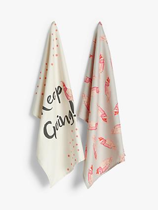 Yvonne Ellen Cockatoo Tea Towels, Set of 2, Pink/Multi