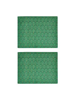 John Lewis & Partners Java Jacquard Placemats, Set of 2, Green/Gold