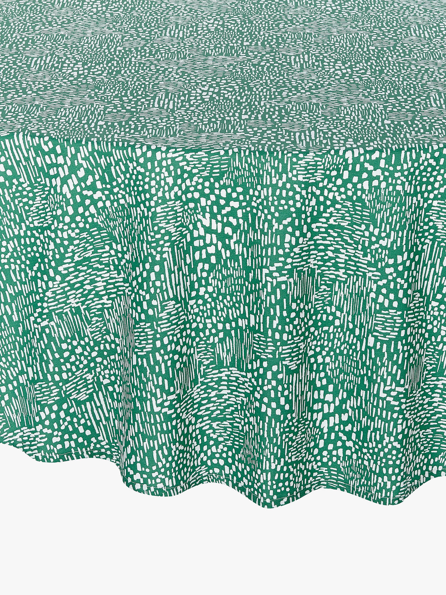 Buy John Lewis & Partners Ebba Wipe Clean Round Tablecloth, Green, Dia.180cm Online at johnlewis.com
