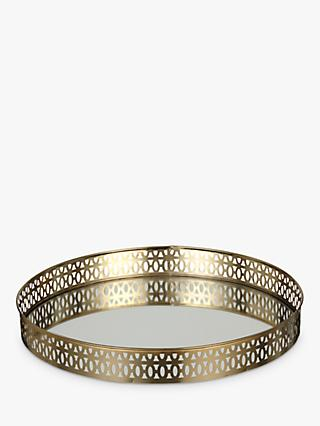 John Lewis & Partners Gallery Edge Round Mirror Tray, Gold