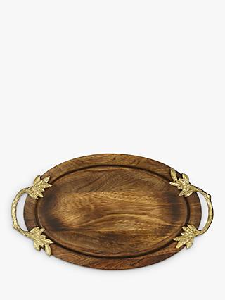 03357e5e30 John Lewis & Partners Ruskin House Leaf Handle Wood Tray, Natural/Gold, L37