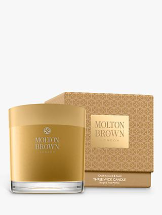 Molton Brown Oudh Accord & Gold Three Wick Scented Candle, 480g
