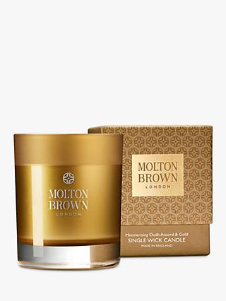 Molton Brown Oudh Accord & Gold Single Wick Scented Candle, 180g