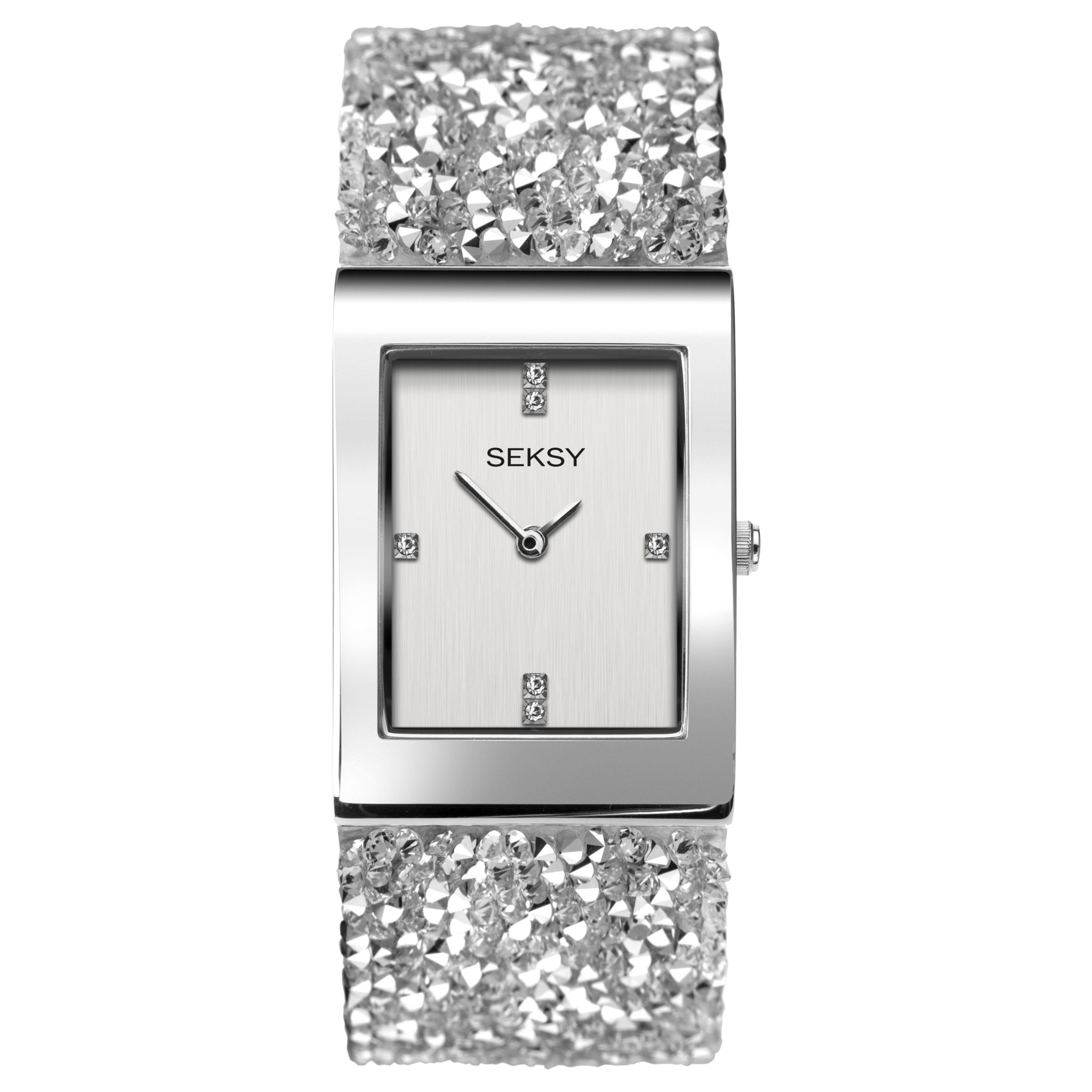 Sekonda Sekonda Women's Seksy Swarovski Crystal and Crystal Rock Bracelet Strap Watch, White/Silver 2652.37