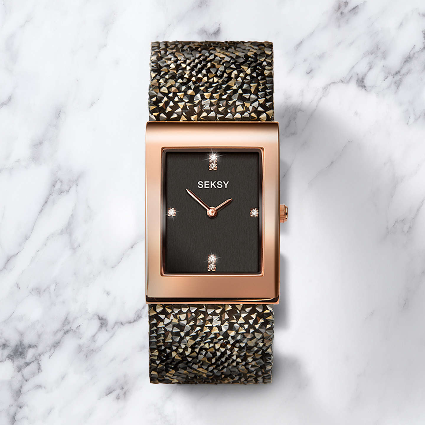 BuySekonda Women's Seksy Swarovski Crystal and Crystal Rock Bracelet Strap Watch, Brown/Black 2653.37 Online at johnlewis.com