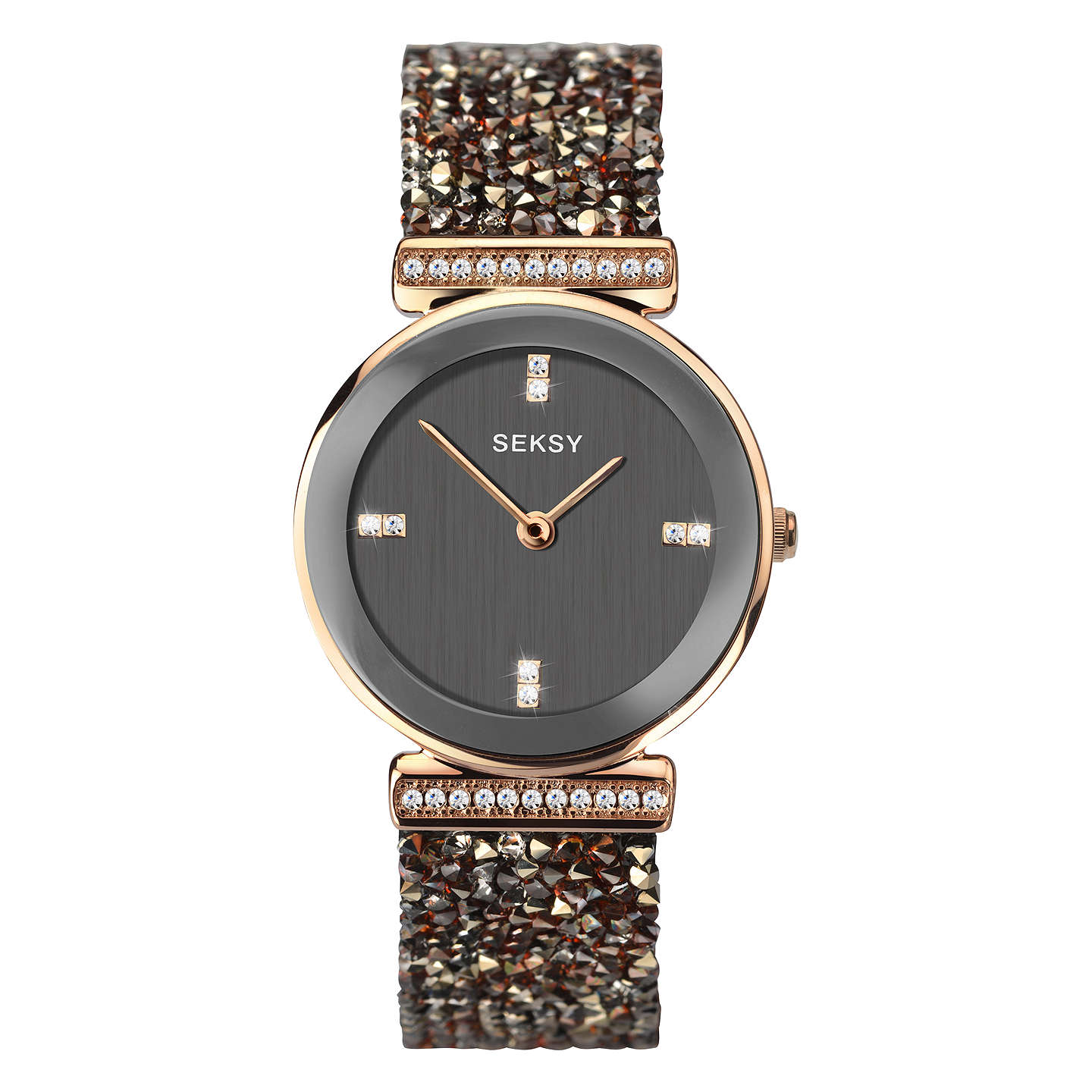 BuySekonda Women's Seksy Swarovski and Rock Crystal Round Bracelet Strap Watch, Grey 2656.37 Online at johnlewis.com