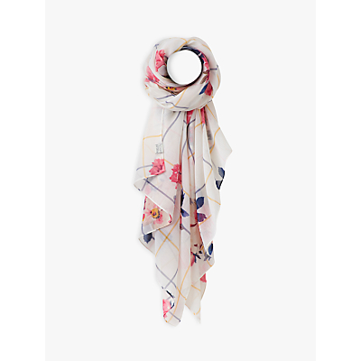 Joules Bircham Bloom Check Wensley Scarf, Natural/Multi