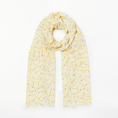 Collection WEEKEND by John Lewis Heart Streamers Print Scarf, Cream/Multi