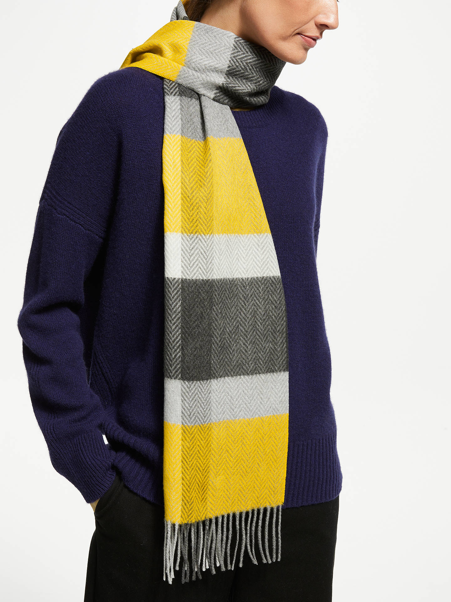 BuyJohn Lewis & Partners Cashmink Colour Block Scarf, Ochre Mix Online at johnlewis.com