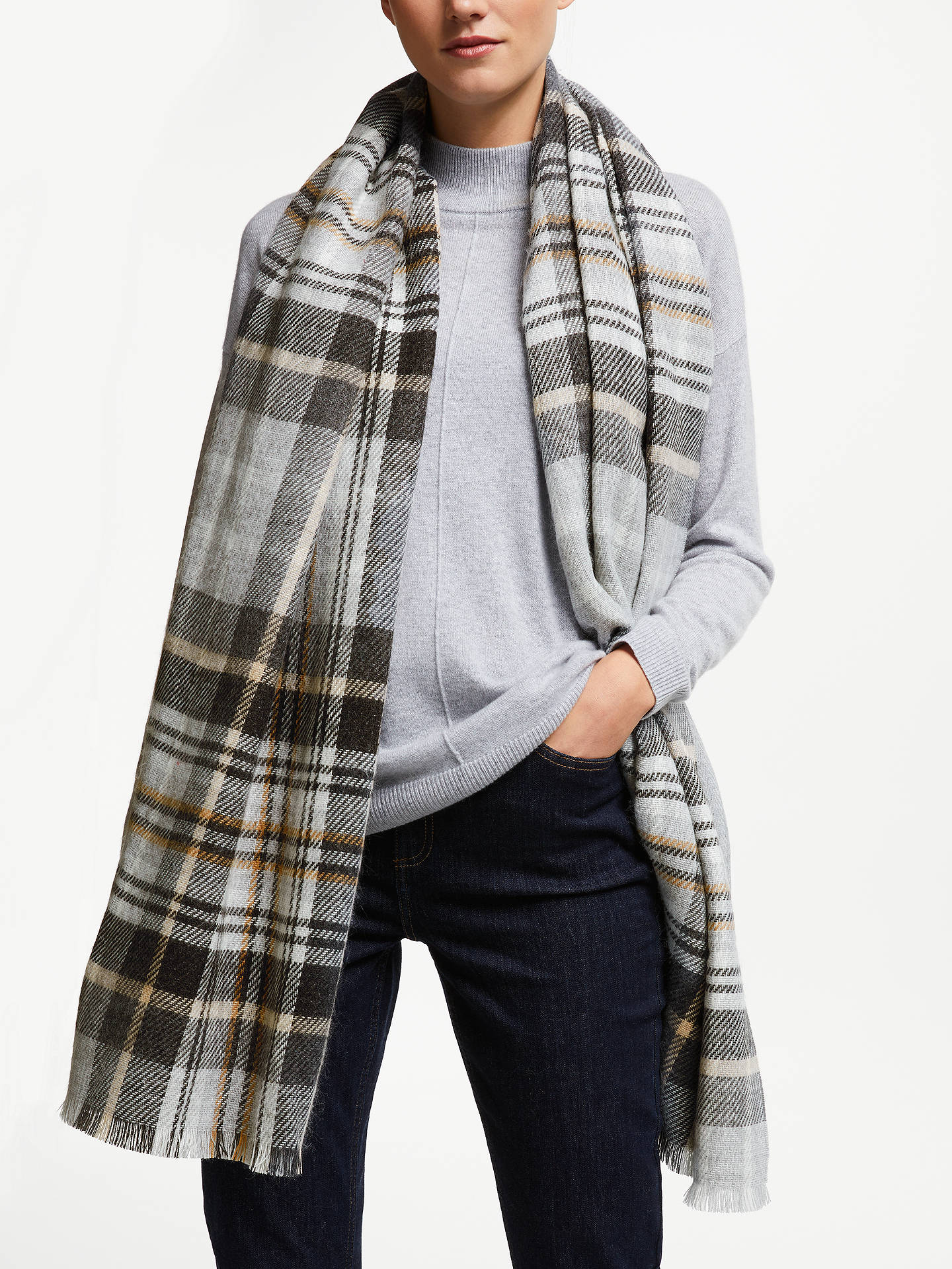 BuyJohn Lewis & Partners Cashmink Double Faced Wrap, Grey/Camel Check Online at johnlewis.com