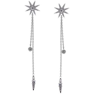 CARAT* London Sterling Silver Nova Long Chain Drop Earrings, Silver