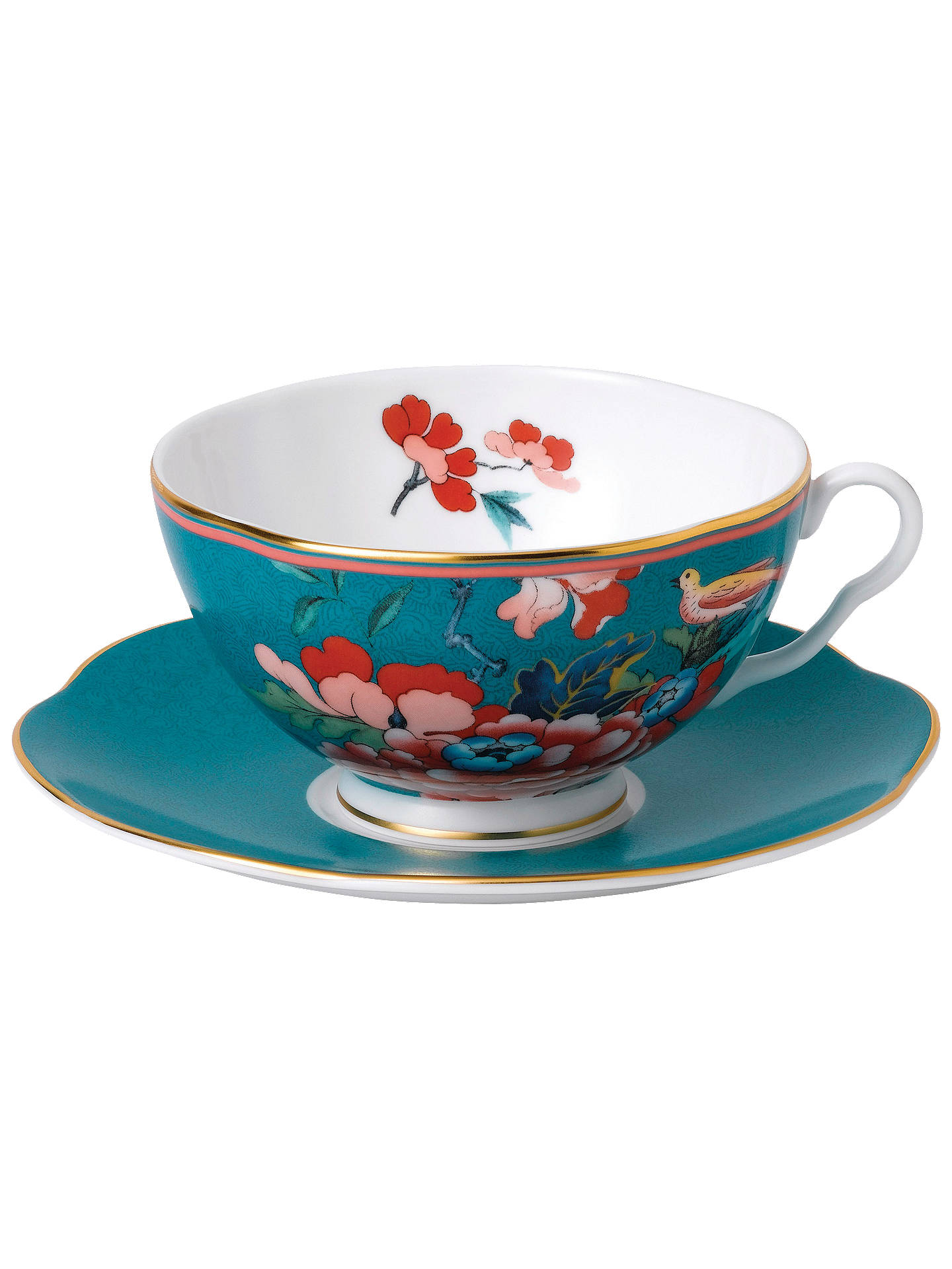 Wedgwood Paeonia Blush Tea Cup And Saucer 200ml Green