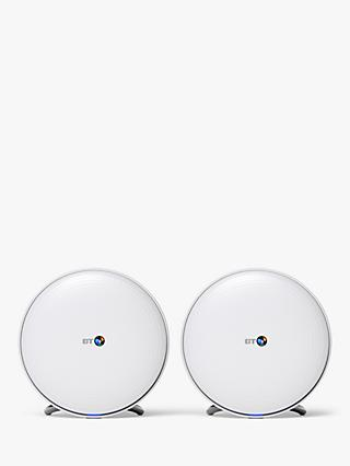 BT Whole Home Wi-Fi Range Extender, White, Pack of 2