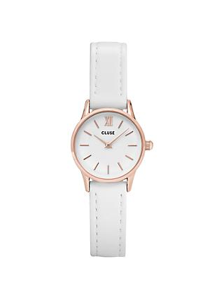 CLUSE La Vedette Rose Gold Leather Strap Watch, White CL50030