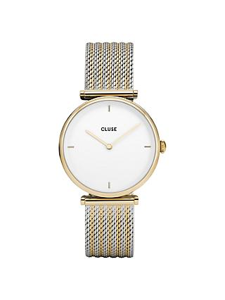 CLUSE Women's Triomphe Mesh T-Bar Bracelet Strap Watch, Silver/Gold CL61002