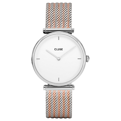 CLUSE Women's Triomphe Mesh T-Bar Bracelet Strap Watch, Silver/Rose Gold CL61001