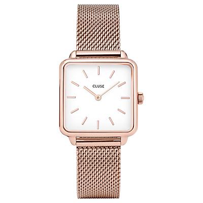 CLUSE Women's La Garconne Square Mesh Bracelet Strap Watch, Rose Gold/White CL60003