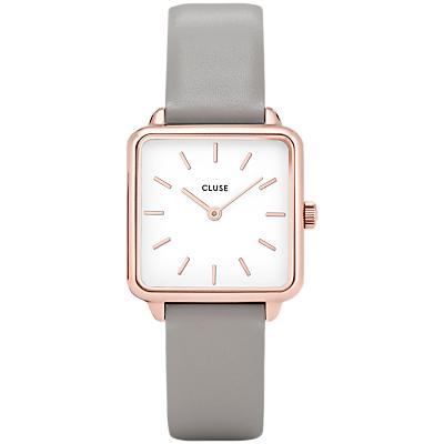 CLUSE Women's La Garconne Square Leather Strap Watch, Grey/White CL60005