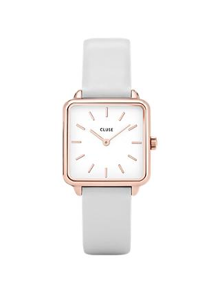 CLUSE Women's La Garconne Square Leather Strap Watch