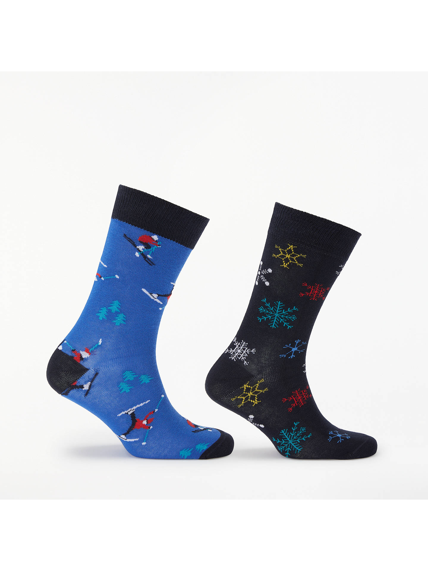 BuyJohn Lewis & Partners Festive Skier/Snowflake Socks, One Size, Pack of 2, Blue/Navy Online at johnlewis.com