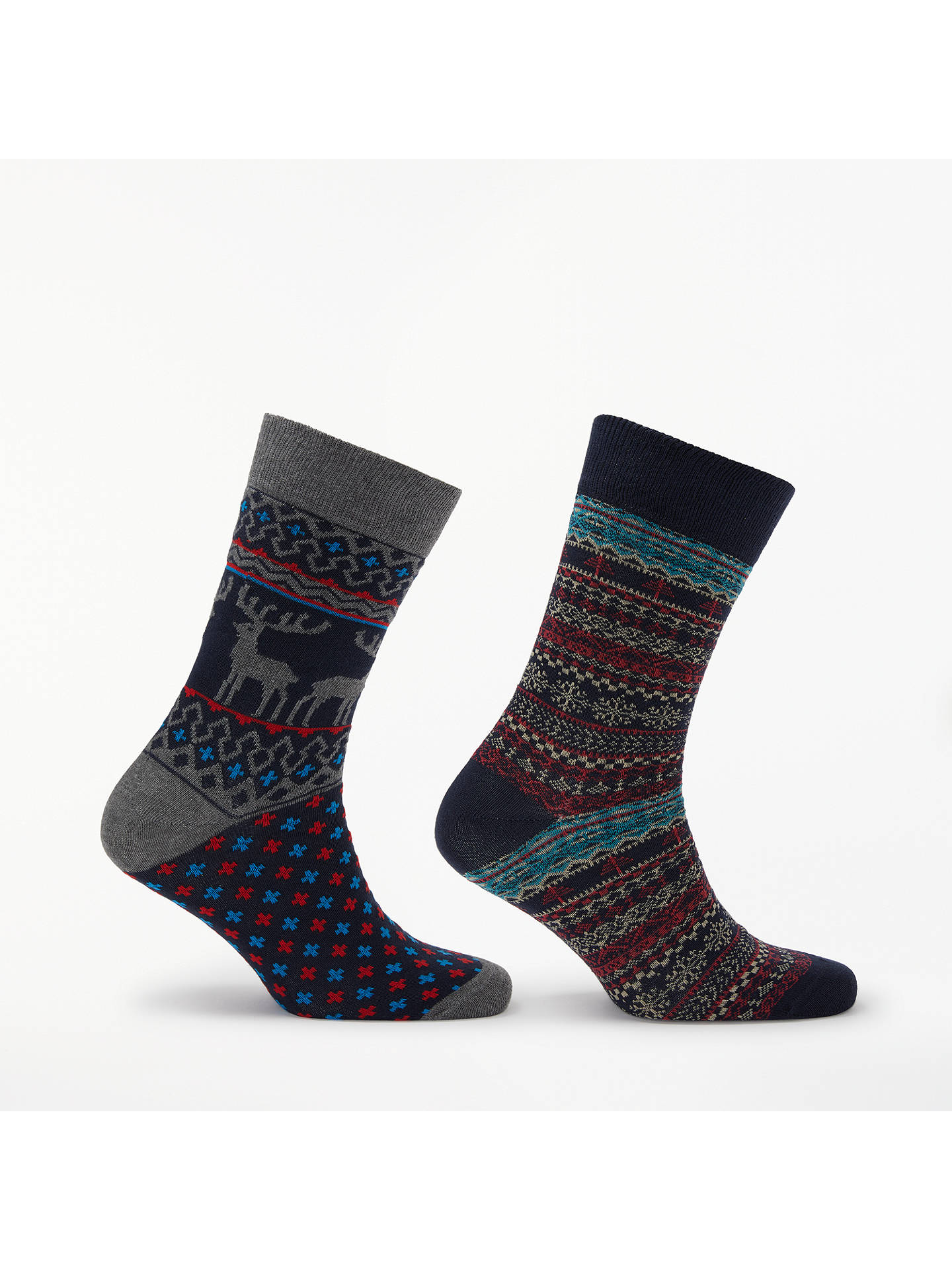 Buy John Lewis & Partners Christmas Nordic Stag Socks, One Size, Pack of 2, Blue/Grey Online at johnlewis.com