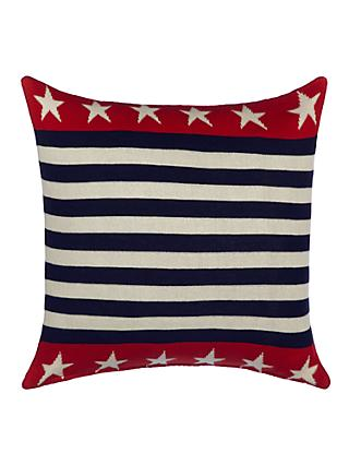 little home at John Lewis Stars Knitted Cushion, Red/Blue