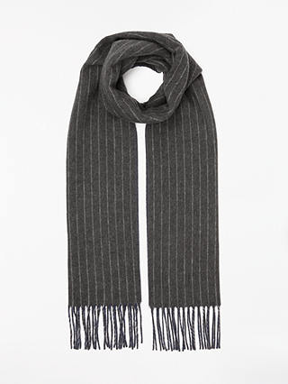 Buy John Lewis & Partners Cashmink Reversible Stripe Scarf, Navy/Grey Online at johnlewis.com
