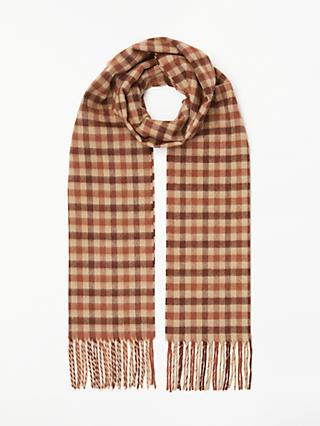 John Lewis & Partners Cashmink Check Scarf, Red/Cream