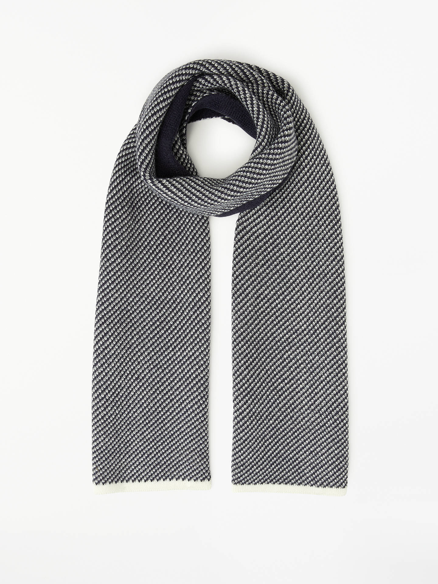 John Lewis Partners Diagonal Knit Scarf Blue At John Lewis Partners