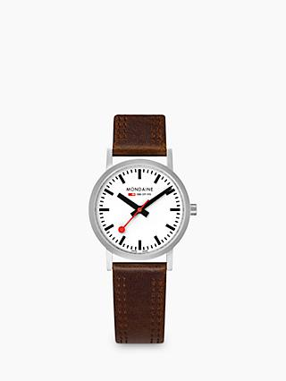 Mondaine Unisex SBB Classic Stitch Leather Strap Watch