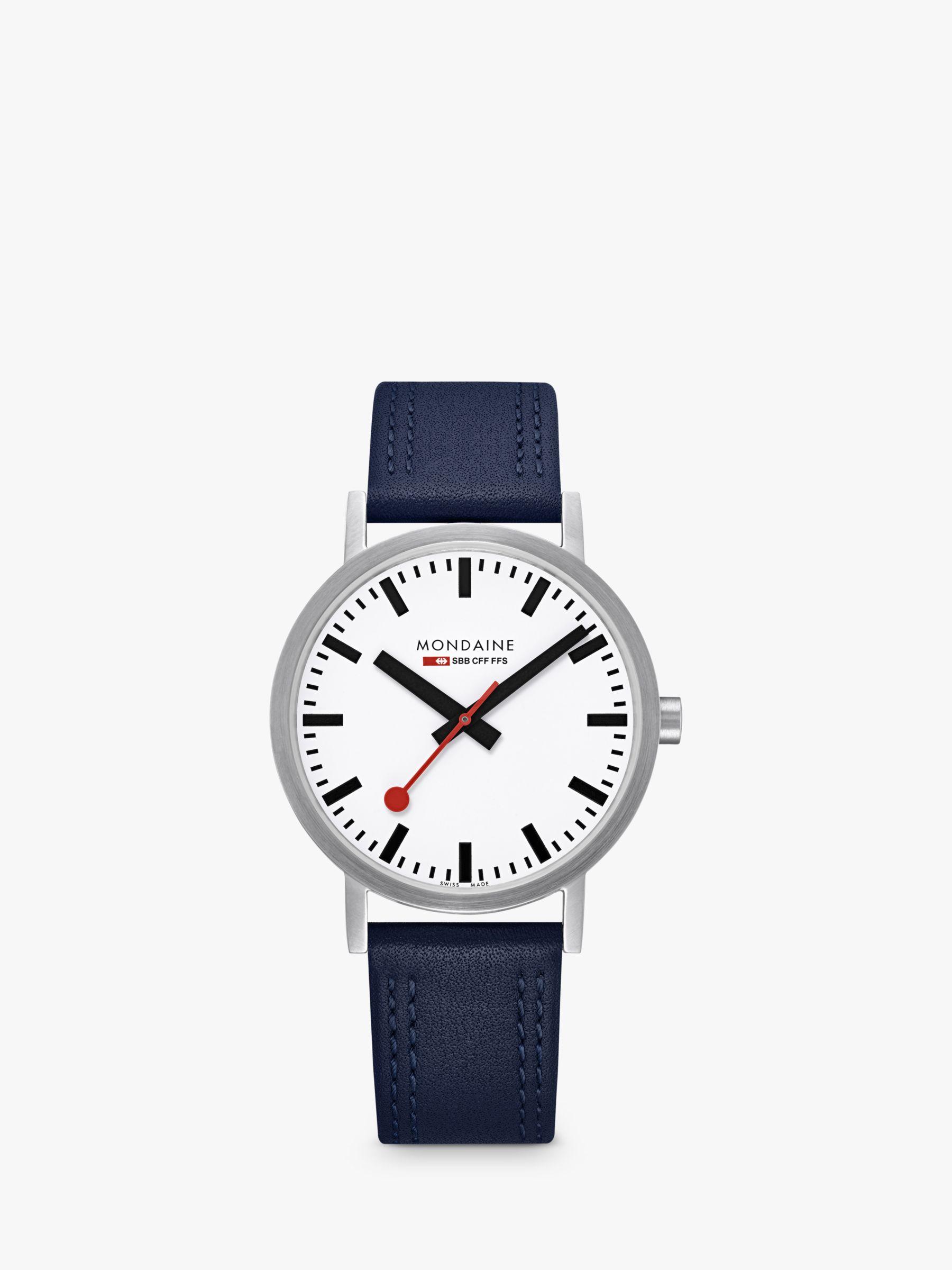 Mondaine Mondaine Unisex Double Stitch Leather Strap Watch