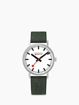 Mondaine Unisex Double Stitch Leather Strap Watch